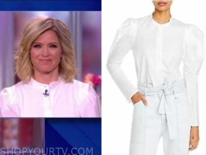 sara haines, the view, white puff sleeve shirt