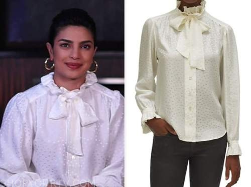 priyanka chopra jones, white dot ruffle pussy bow blouse, live with kelly and ryan