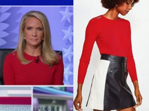 dana perino, the five, red detail shoulder sweater,