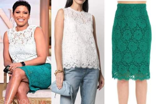 tamron hall, tamron hall show, white lace top, green lace skirt