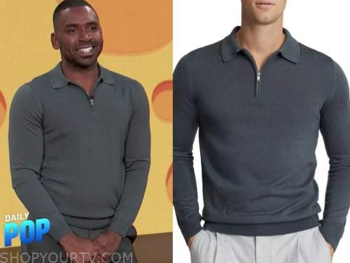 justin sylvester, E! news, daily pop, grey polo knit zipper shirt