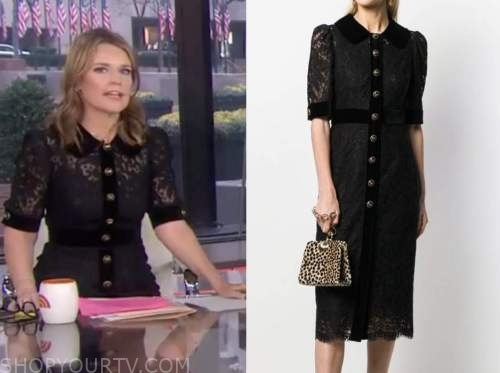 the today show, savannah guthrie, black lace dress