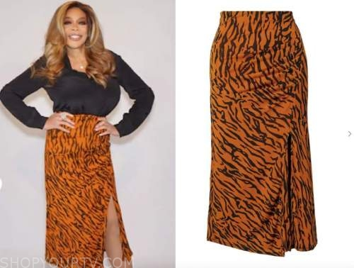 wendy williams, the wendy williams show, orange tiger skirt