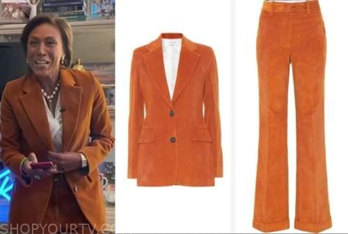 good morning america, robin roberts, orange pant suit