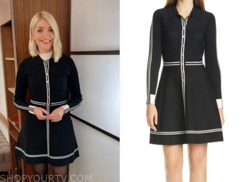 this morning, holly willoughby, black and white striped dress
