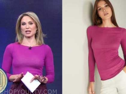 amy robach, good morning america, pink boatneck sweater top