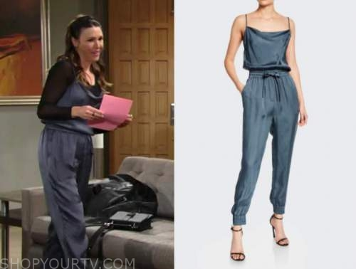 chloe mitchell, elizabeth hendrickson, the young and the restless, blue silk cowl neck drape jumpsuit