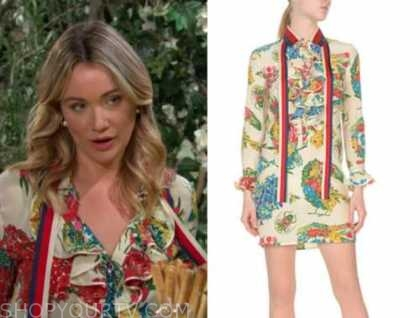 Katrina Bowden, flo fulton, the bold and the beautiful, the young and the restless, crossover, floral ruffle dress