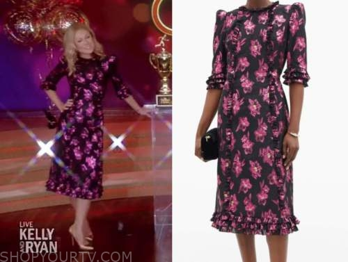 kelly ripa, live with kelly and ryan, pink and black jacquard floral midi dress, viewer's choice show