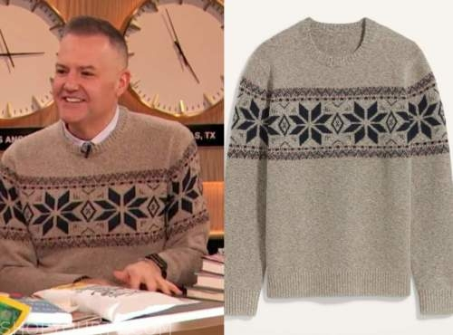 drew barrymore show, ross mathews, fair isle sweater