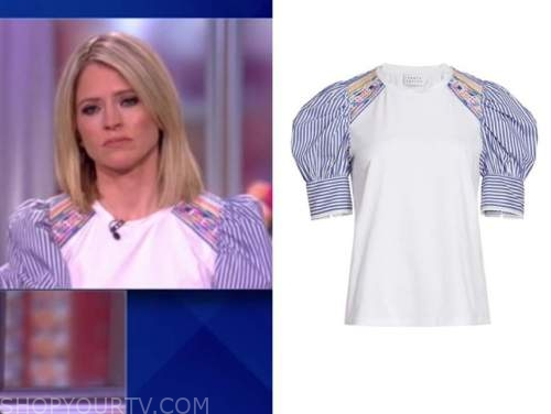 sara haines, the view, embroidered striped puff sleeve blouse