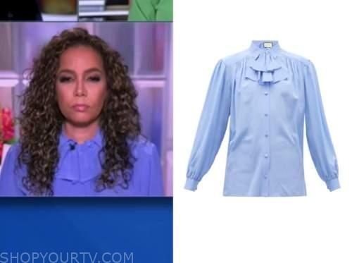 sunny hostin, the view, blue ruffle blouse