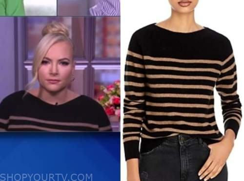 meghan mccain, the view, black and beige striped boatneck sweater