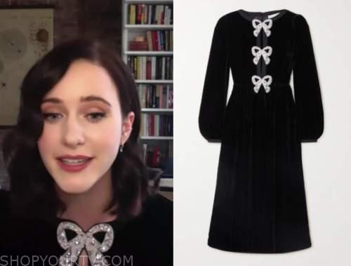 rachel brosnahan, conan, black velvet bow embellished midi dress