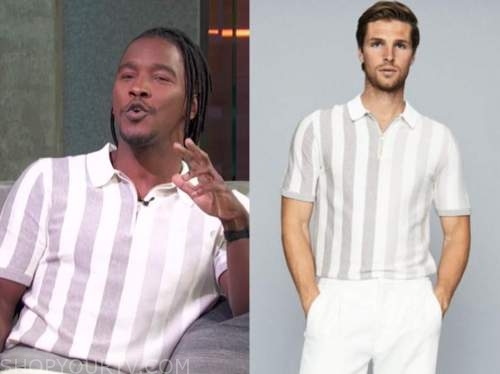scott evans, access daily, striped knit polo top