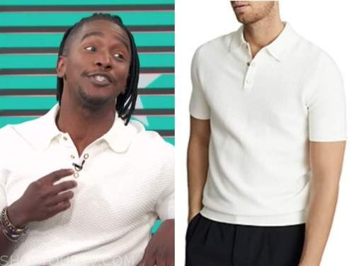 scott evans, access daily, white textured knit polo