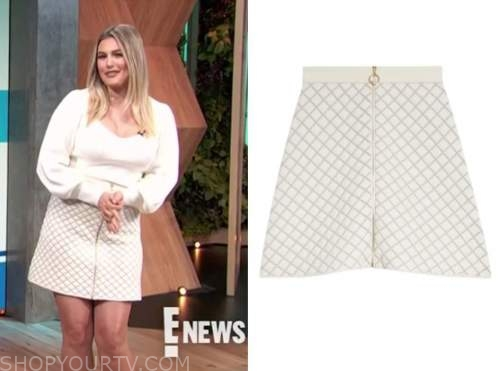carissa culiner, E! news, daily pop, ivory quilted mini skirt