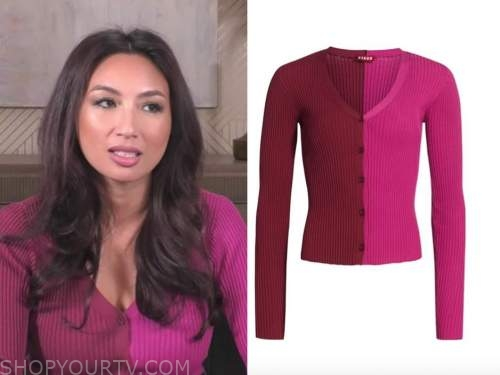 jeannie mai, the real, pink and red colorblock cardigan sweater