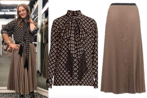 drew barrymore show, drew barrymore, tie neck blouse, pleated midi skirt