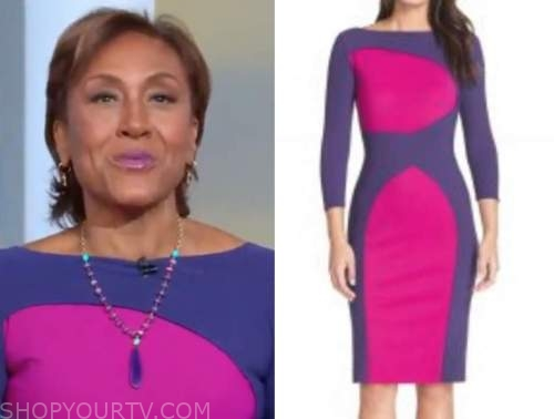 robin roberts, good morning america, purple and pink colorblock sheath dress