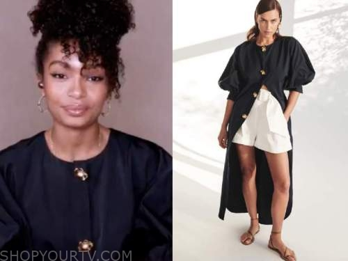 good morning america, yara shahidi, black floral button dress