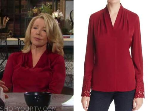 nikki newman, melody thomas scott, the young and the restless, red blouse