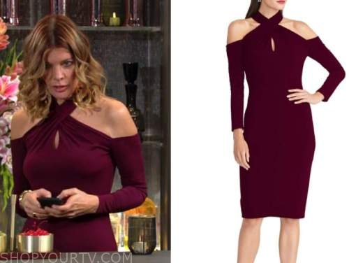 michelle stafford, phyllis newman, the young and the restless, burgundy halter dress