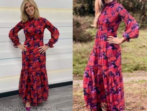 kate garraway, good morning britain, red floral maxi dress