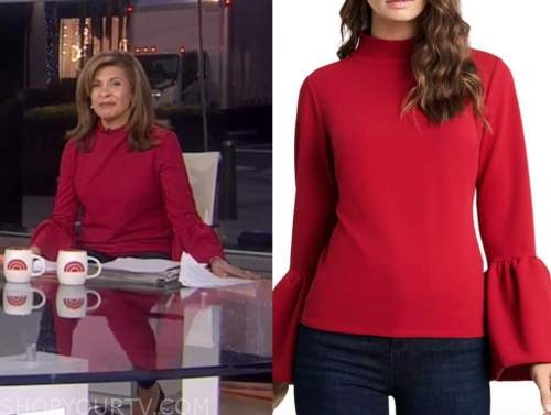 hoda kotb, the today show, red mock neck puff sleeve top