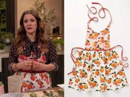 drew barrymore, drew barrymore show, orange print apron