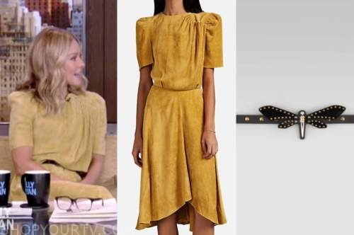 kelly ripa, yellow suede dress, black dragonfly belt, live with kelly and ryan