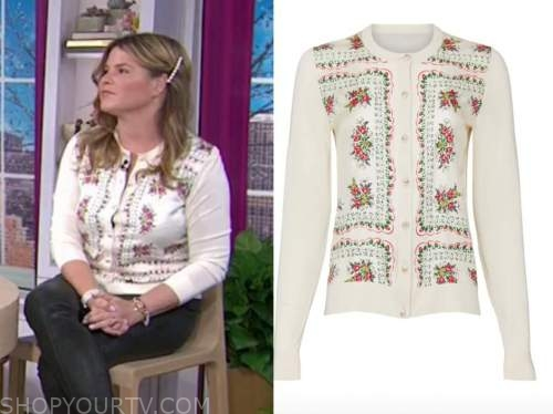 jenna bush hager, the today show, hoda and jenna, white floral cardigan sweater