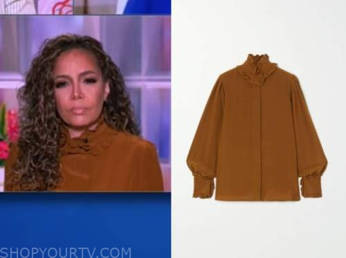 sunny hostin, the view, brown silk ruffle blouse
