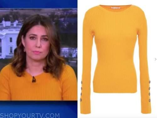 cecilia vega, the view, orange sweater
