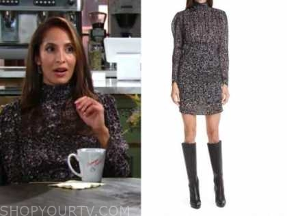 lily winters, christel khalil, the young and the restless, black mock neck puff sleeve dress