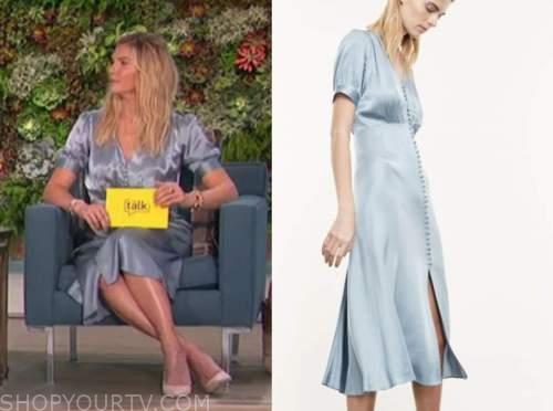 amanda kloots, the talk, blue satin midi dress