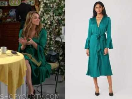 summer newman, hunter king, the young and the restless, green satin dress, the bold and the beautiful