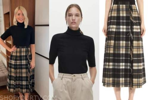 this morning, holly willoughby, black turtleneck top, plaid skirt