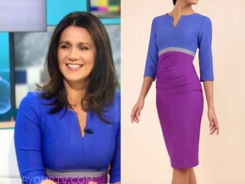 susanna reid, good morning britain, blue and purple colorblock pencil dress