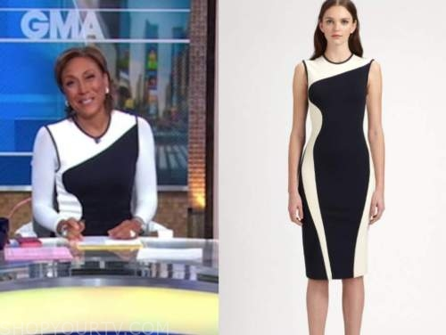 robin roberts, good morning america, black and white colorblock sheath dress