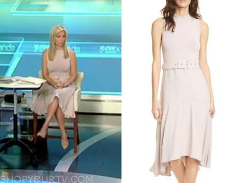 ainsley earhardt, fox and friends, blush belted midi dress