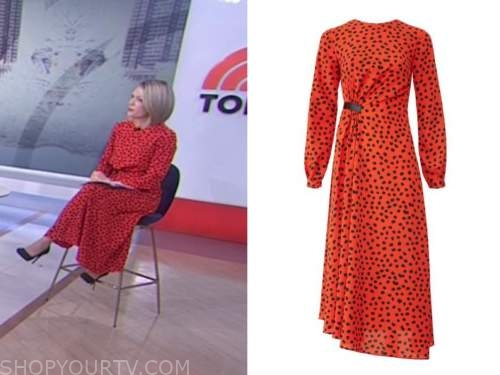 dylan dreyer, the today show, red and black polka dot midi dress