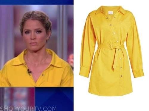 sara haines, the view, yellow shirt dress