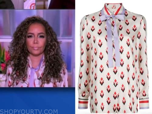 sunny hostin, the view, geometric tie neck blouse