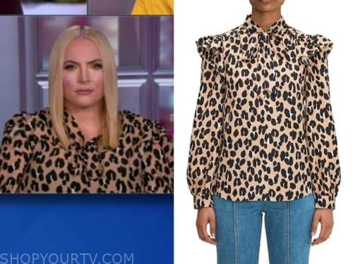 meghan mccain, the view, leopard ruffle tie neck blouse