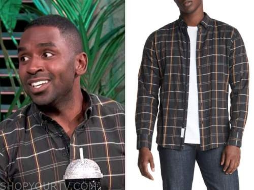 justin sylvester, E! news, daily pop, black plaid shirt