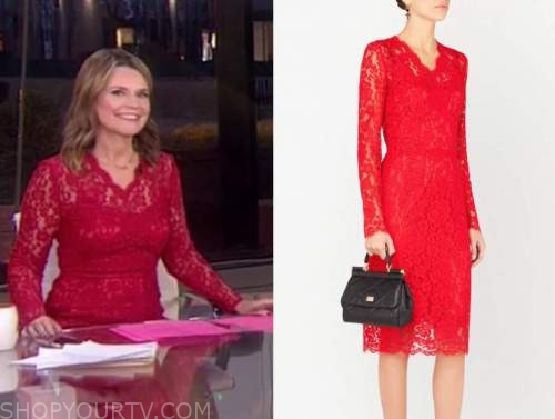 the today show, red lace dress, savannah guthrie