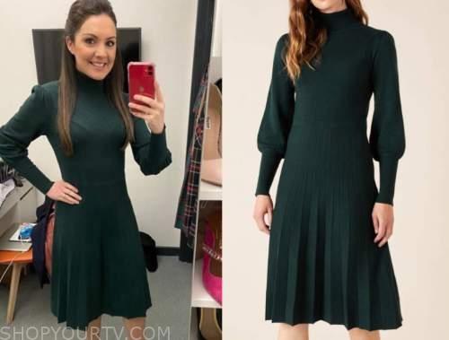 laura tobin, good morning britain, green turtleneck knit dress