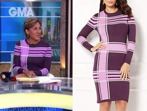 robin roberts, purple and pink plaid dress, good morning america