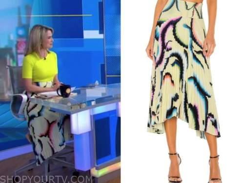 amy robach, yellow pleated midi skirt, good morning america